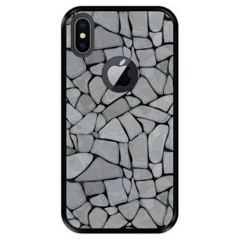 Capa Tpu Hapdey para Iphone X - Xs | Design Mosaico de Parede de Pedra Abstrato e Moderno - Preto