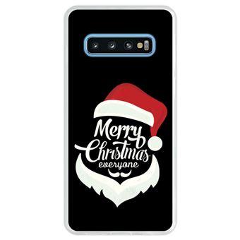 Capa Hapdey Para Samsung Galaxy S10 Design Figura do Pai Natal - Feliz Natal Capa de Silicone Flexível Em TPU - Transparente
