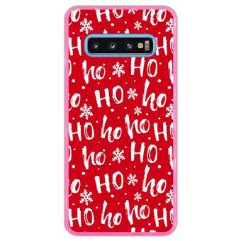 Capa Hapdey Para Samsung Galaxy S10 Design Pai Natal Padrão Hohoho Capa de Silicone Flexível Em TPU - Rosa