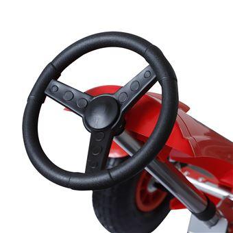 Go Kart HomCom Carro de Pedais Desportivo com Embraiagem, Travões e Assento Ajustável para Crianças 3-8 Anos de Carga 50kg 80x49x50cm em Aço Vermelho