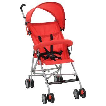 Carrinho de Bebé vidaXL Dobrável Vermelho Aço