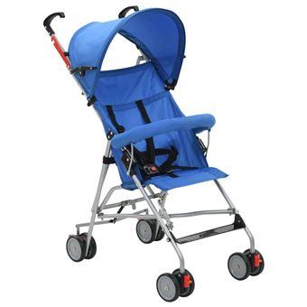 Carrinho de Bebé vidaXL Dobrável Azul Aço