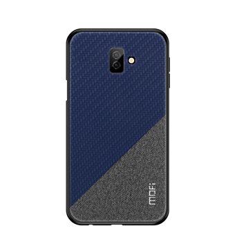 Capa Magunivers PU bi-color tecido revestido de anti-derrapante azul para Samsung Galaxy J6 Plus
