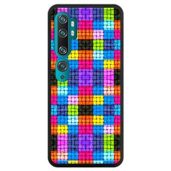 Capa Hapdey para Xiaomi Mi Note 10 - Note 10 Pro - CC9 Pro | Silicone Flexível em TPU | Design Quadrados coloridos com gotas de água - Preto