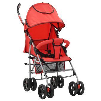 Carrinho de Bebé vidaXL 2 em 1 Dobrável Vermelho Aço