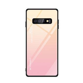 Capa TPU Magunivers vidro de gradiente dourado/rosa para Samsung Galaxy S10