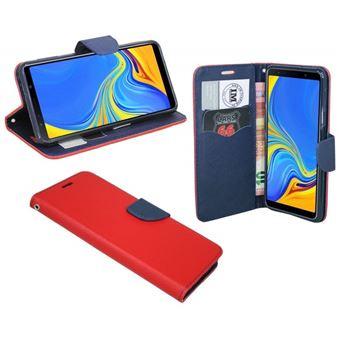 Capa Lmobile Flip Carteira / Livro Fancy Samsung Galaxy A50 Azul Marinho / Vermelho