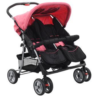 Carrinho de Bebé vidaXL para Gémeos Aço Cor-de-Rosa e Preto