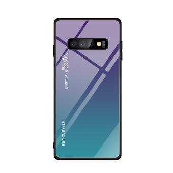 Capa TPU Magunivers vidro de gradiente roxo/ciano para Samsung Galaxy S10