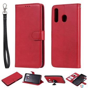 Capa PU suporte magnético destacável 2 em 1 vermelho para Samsung Galaxy A50/A30/A20