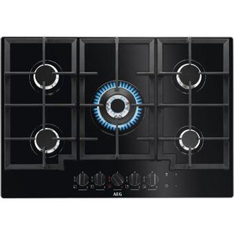 Placa de Cozinha a Gás Vitrocerâmica Encastrável AEG HKB75540NB Preto