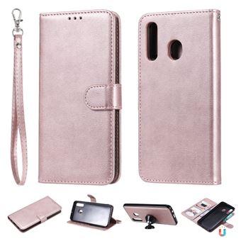 Capa PU suporte magnético destacável 2 em 1 ouro rosa para Samsung Galaxy A50/A30/A20