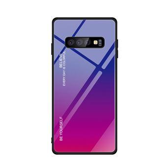 Capa TPU Magunivers vidro de gradiente azul/púrpura para Samsung Galaxy S10