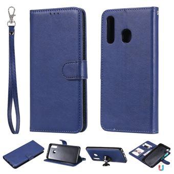 Capa PU suporte magnético destacável 2 em 1 azul para Samsung Galaxy A50/A30/A20
