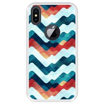 Capa Tpu Hapdey para Iphone X - Xs | Design Abstrato | Ondas Em Várias Cores - Transparente