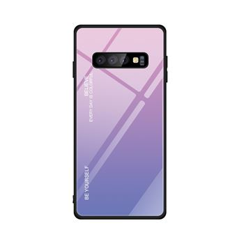 Capa TPU Magunivers vidro de gradiente rosa/azul para Samsung Galaxy S10