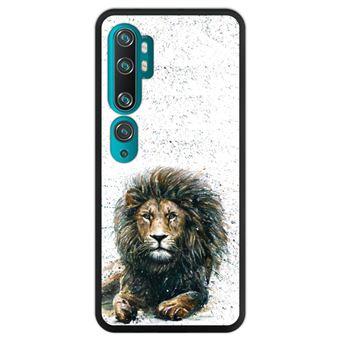 Capa Hapdey para Xiaomi Mi Note 10 - Note 10 Pro - CC9 Pro | Silicone Flexível em TPU | Design O leão - rei da selva - Preto