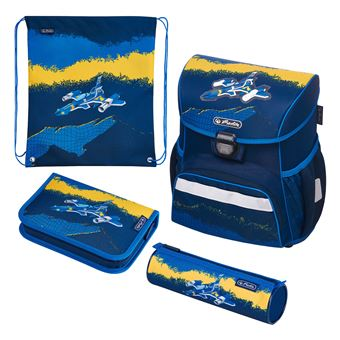 Herlitz Jet conjunto de mochilas escolares Menino Azul, Amarelo