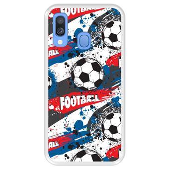 Capa Tpu Hapdey para Samsung Galaxy A40 2019 | Design Padrão de Esportes com Bolas de Futebol - Transparente