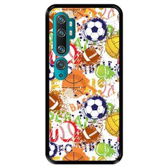 Capa Tpu Hapdey para Xiaomi Mi Note 10 - Note 10 Pro - Cc9 Pro | Design Padrão de Esportes com Bolas 1 - Preto