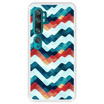 Capa Tpu Hapdey para Xiaomi Mi Note 10 - Note 10 Pro - Cc9 Pro | Design Abstrato | Ondas Em Várias Cores - Transparente