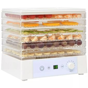 Desidratador de Alimentos vidaXL + 6 bandejas 250 W branco