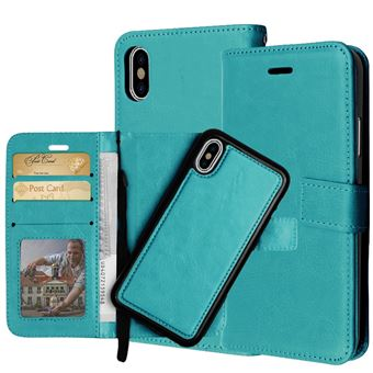 Capa PU Magunivers Flip 2-em-1 ciano para Apple iPhone X (Ten)