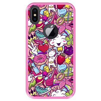 Capa Tpu Hapdey para Iphone X - Xs | Design Padrão de Grafite | Rabiscos de Estilo Feminino - Rosa
