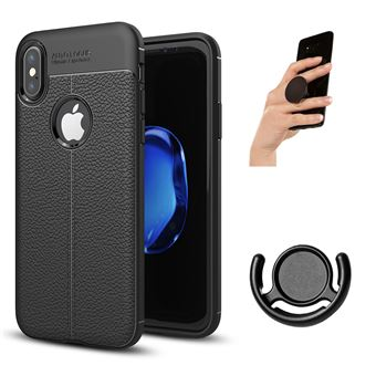 Capa PhoneShield Rugged Leather Anti-Choque + Popsocket + Suporte Multifunção para iPhone X - Preto