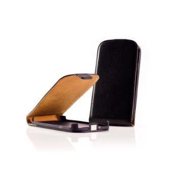 Capa Ultra-Fina com Tampa OZZZO em imitação de couro preta para NOKIA X6