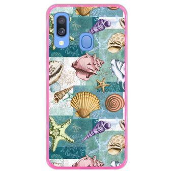 Capa Hapdey para Samsung Galaxy A40 2019 Design Conchas e Estrelas do Mar em Silicone Flexível e TPU Cor-de-Rosa