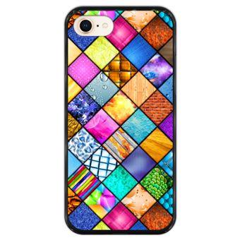 Capa Hapdey para iPhone 7 - 8 Design Mosaico Gráfico em Silicone Flexível e TPU Preto