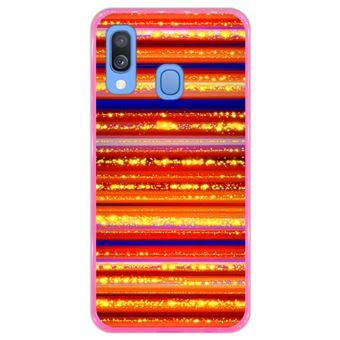 Capa Hapdey para Samsung Galaxy A40 2019 Design Fundo Colorido com Linhas em Silicone Flexível e TPU Cor-de-Rosa