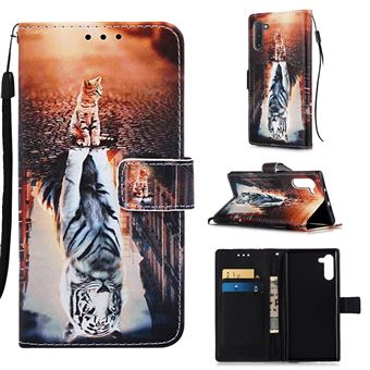 Capa Magunivers PU + TPU Impressão Padrão com Apoio Gato e Tigre para Samsung Galaxy Note 10/Note 10 5G