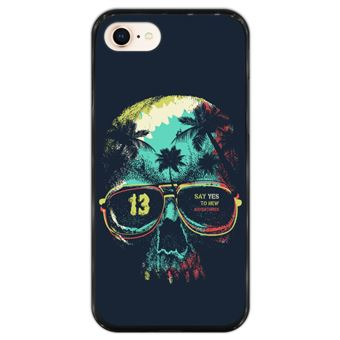 Capa Hapdey para iPhone 7 - 8 Design Caveira Say Yes to New Adventures em Silicone Flexível e TPU Preto