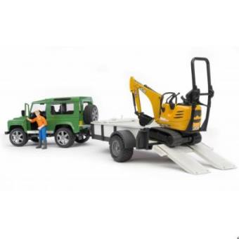 BRUDER Land Rover Defender with trailer, CAT and man