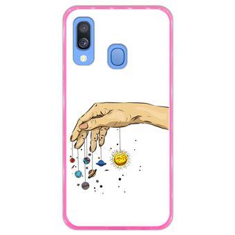 Capa Hapdey para Samsung Galaxy A40 2019 Design Planetas na Mão em Silicone Flexível e TPU Cor-de-Rosa
