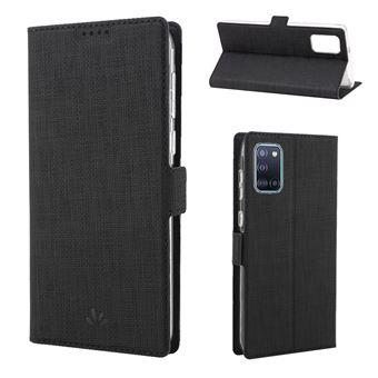 Capa Magunivers Pu Fecho Magnético Duplo de Textura Cruzada Preto para Samsung Galaxy A31