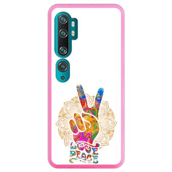 Capa Hapdey para Xiaomi Mi Note 10 - Note 10 Pro - CC9 Pro | Silicone Flexível em TPU | Design Victoria Hippie, Amor e Paz - Rosa