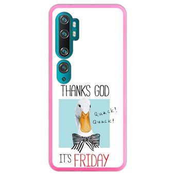 Capa Hapdey para Xiaomi Mi Note 10 - Note 10 Pro - CC9 Pro | Silicone Flexível em TPU | Design O pato, graças a Deus é sexta-feira - Rosa