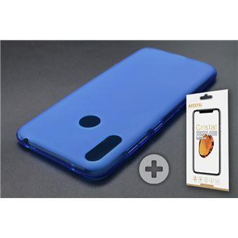 Conjunto com Película de Vidro Temperado e Capa Skyhe para Huawei Y7 2019 Gel Azul