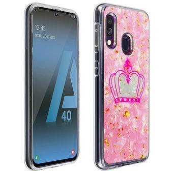 Capa Protetora Avizar para Samsung Galaxy A40 | Anti-Choque | Design Coroa - Rosa