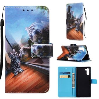 Capa Magunivers PU + TPU Impressão Padrão com Apoio Pequeno Gato e Tigre para Samsung Galaxy Note 10/Note 10 5G