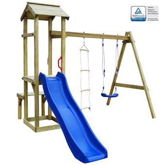 Casa de Brincar vidaXL | Escorrega + Baloiço + Escada | 238x228x218 cm | Madeira Fsc