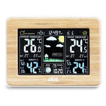 Estações meteorológicas digitais ADE WS 1703 Madeira LED Bateria
