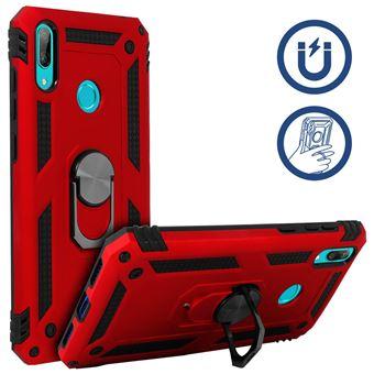 Capa Protetora Avizar para Huawei Y7 2019 Com Suporte em Anel Magnético Vermelho