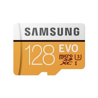 cartão de memória Samsung 128GB, MicroSDXC EVO 128GB MicroSDXC UHS-I Class 10  Laranja e Branco