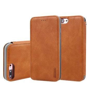 Capa TPU + PU marrom para Apple iPhone 8 Plus