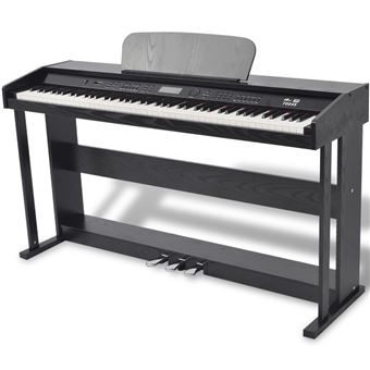 Piano Digital vidaXL de 88 Teclas com Pedais Placa de Melamina Preta
