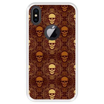 Capa Tpu Hapdey para Iphone X - Xs | Design Caveiras Douradas | Padrão Abstrato - Transparente